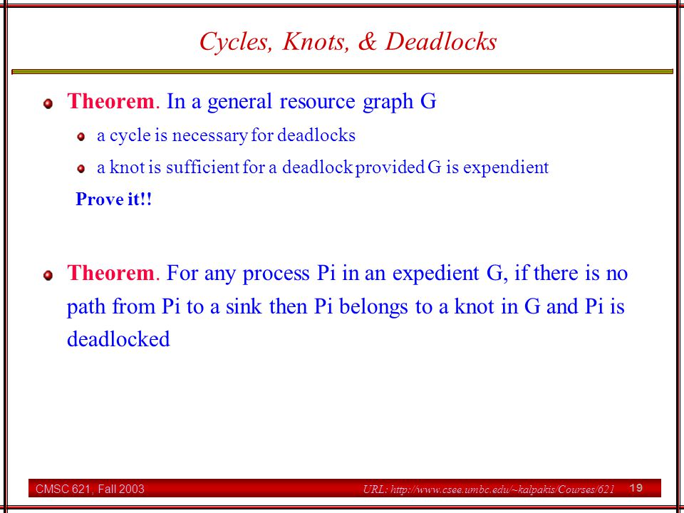 CMSC 621, Fall 2003 19 URL: http://www.csee.umbc.edu/~kalpakis/Courses/621 Cycles, Knots, & Deadlocks Theorem.