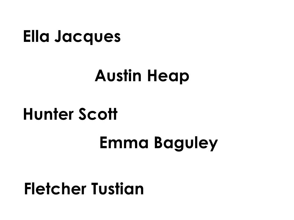 Ella Jacques Austin Heap Hunter Scott Emma Baguley Fletcher Tustian