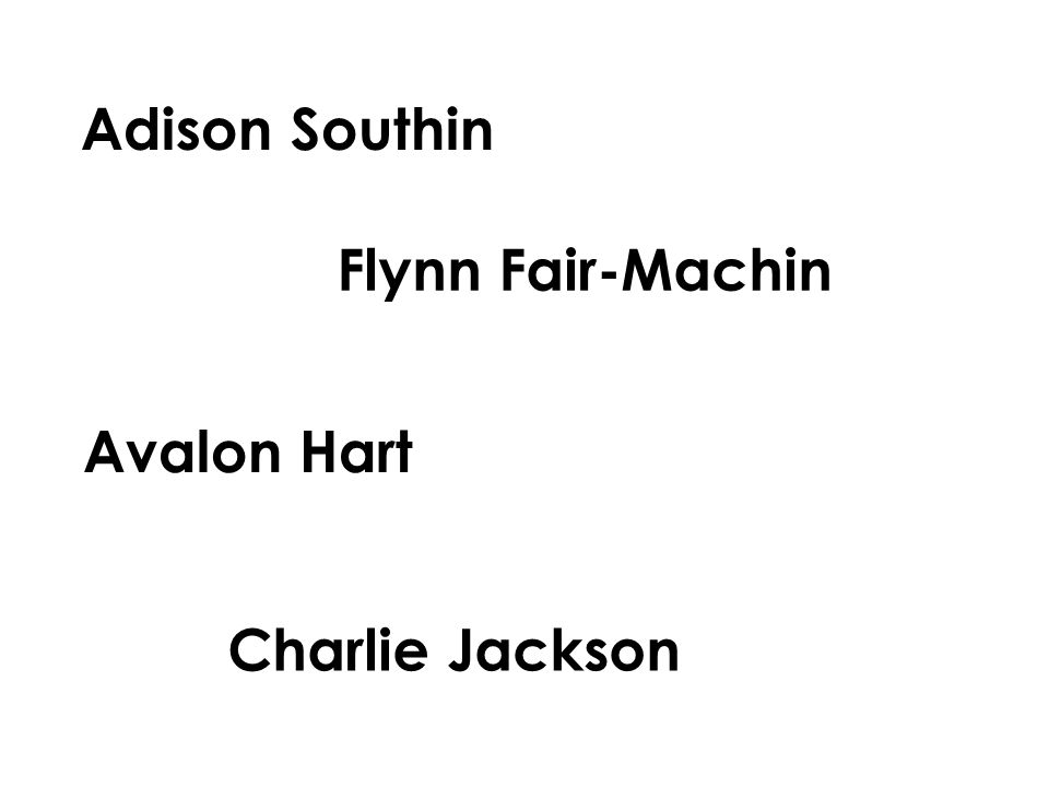 Adison Southin Avalon Hart Charlie Jackson Flynn Fair-Machin
