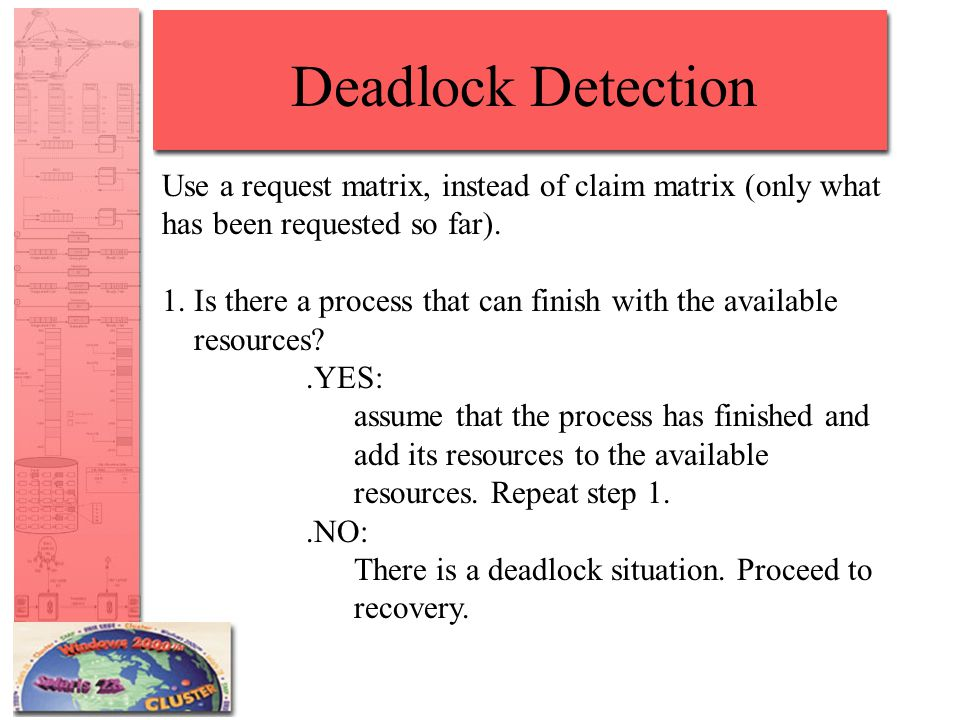 Deadlock Detection Use a request matrix, instead of claim matrix (only what has been requested so far).