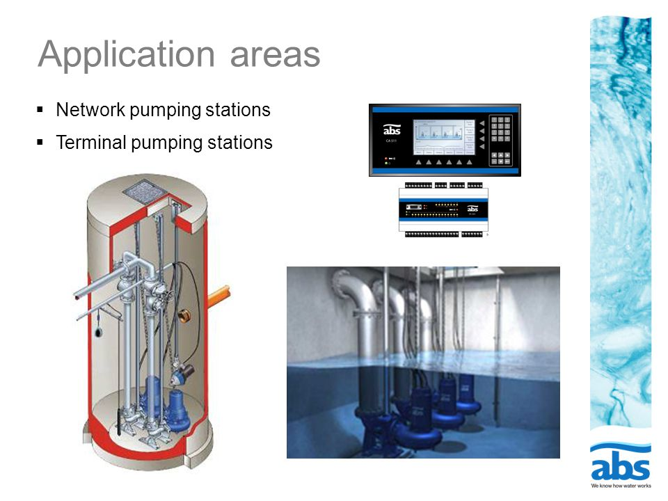 Application areas  Network pumping stations  Terminal pumping stations