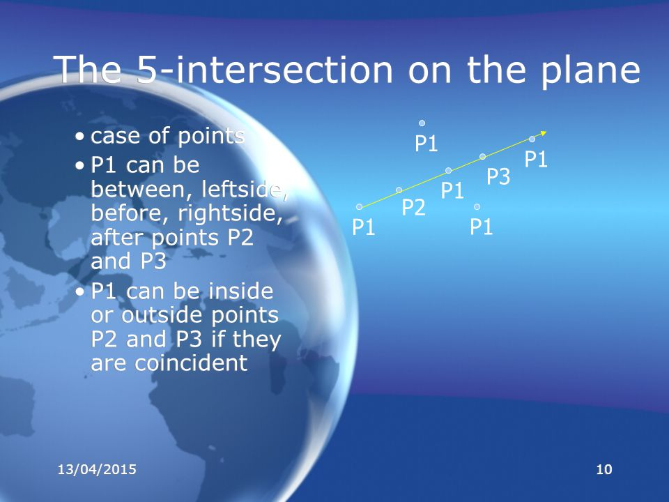 case of points P1 can be between, leftside, before, rightside, after points P2 and P3 P1 can be inside or outside points P2 and P3 if they are coincident case of points P1 can be between, leftside, before, rightside, after points P2 and P3 P1 can be inside or outside points P2 and P3 if they are coincident The 5-intersection on the plane P2 P3 P1 13/04/201510