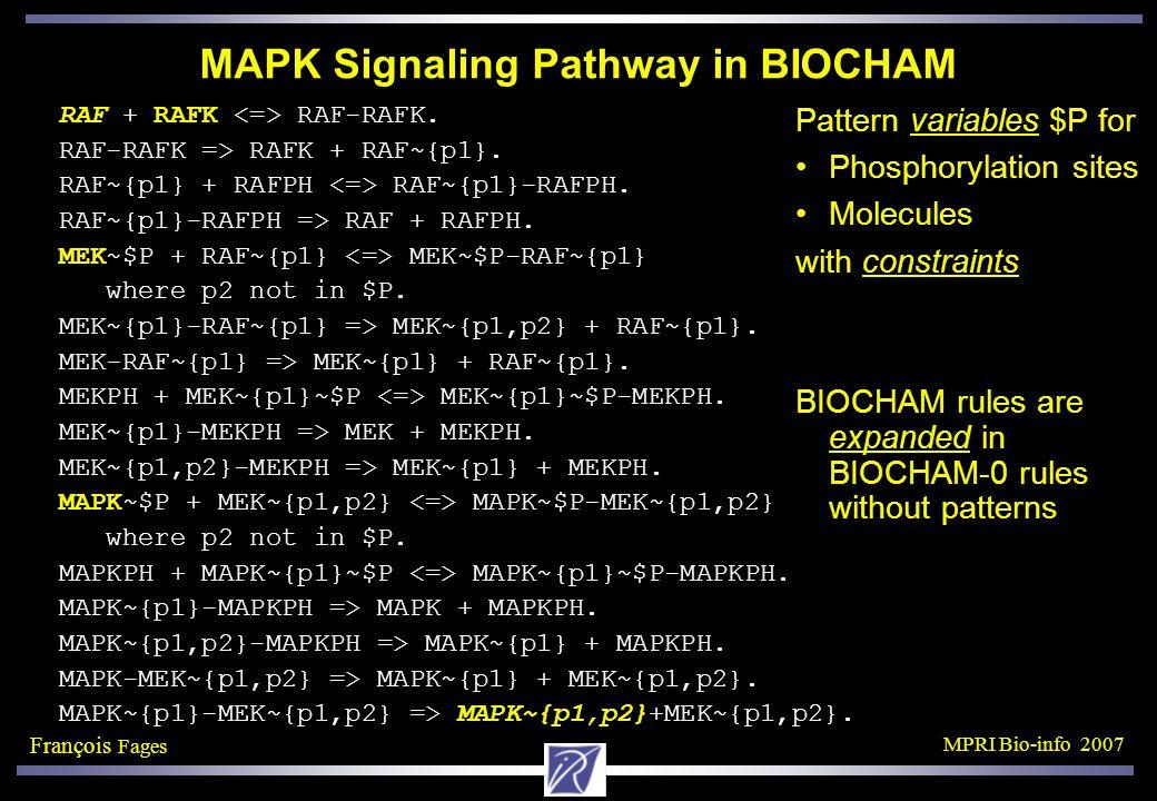 François Fages MPRI Bio-info 2007 MAPK Signaling Pathway in BIOCHAM RAF + RAFK RAF-RAFK.