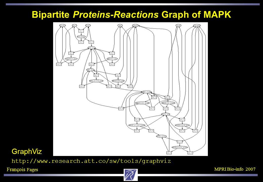 François Fages MPRI Bio-info 2007 Bipartite Proteins-Reactions Graph of MAPK GraphViz http://www.research.att.co/sw/tools/graphviz