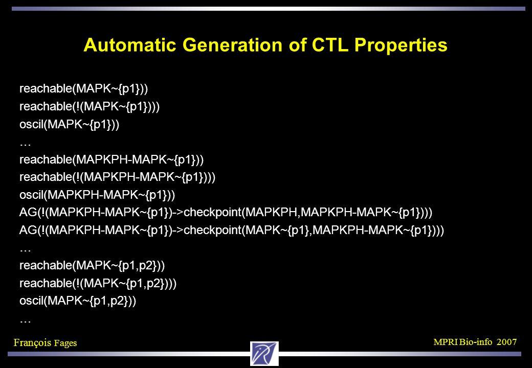François Fages MPRI Bio-info 2007 Automatic Generation of CTL Properties reachable(MAPK~{p1})) reachable(!(MAPK~{p1}))) oscil(MAPK~{p1})) … reachable(MAPKPH-MAPK~{p1})) reachable(!(MAPKPH-MAPK~{p1}))) oscil(MAPKPH-MAPK~{p1})) AG(!(MAPKPH-MAPK~{p1})->checkpoint(MAPKPH,MAPKPH-MAPK~{p1}))) AG(!(MAPKPH-MAPK~{p1})->checkpoint(MAPK~{p1},MAPKPH-MAPK~{p1}))) … reachable(MAPK~{p1,p2})) reachable(!(MAPK~{p1,p2}))) oscil(MAPK~{p1,p2})) …