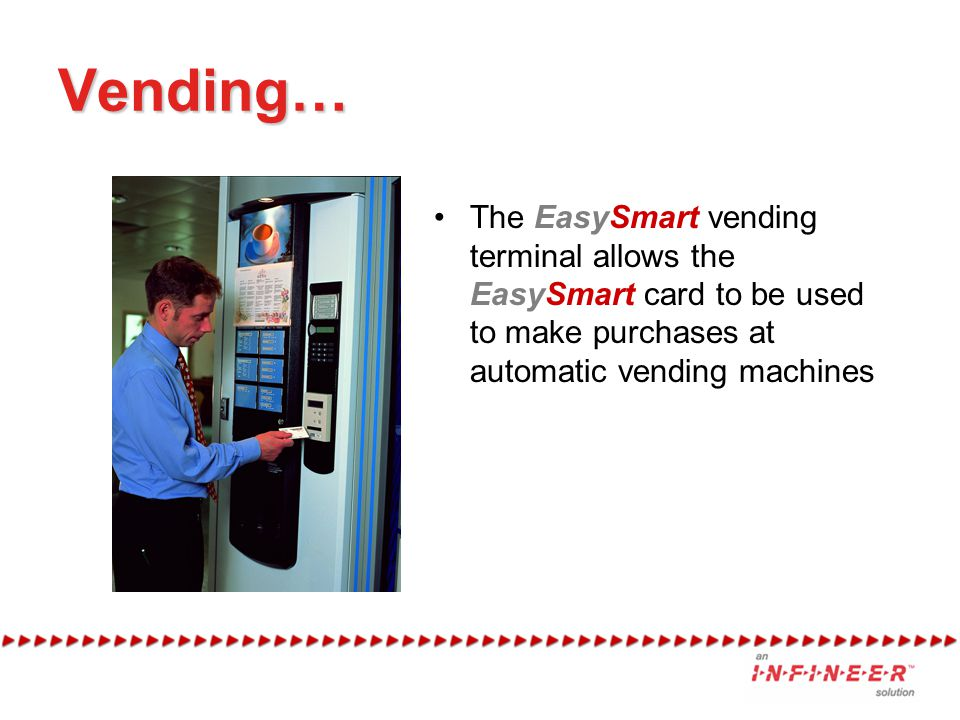 Vending… The EasySmart vending terminal allows the EasySmart card to be used to make purchases at automatic vending machines