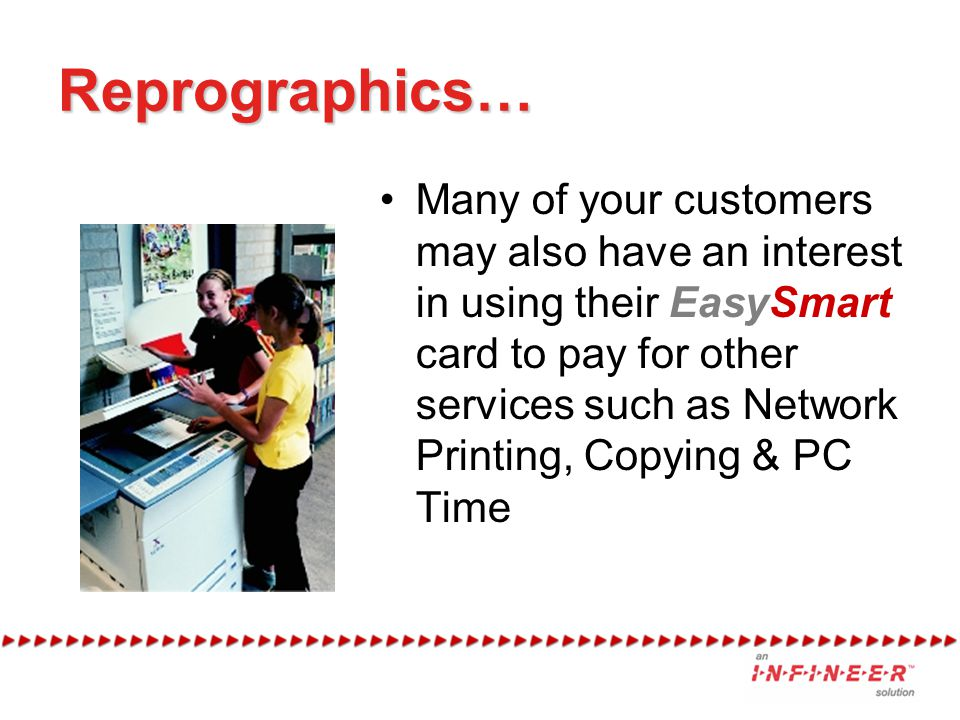 Reprographics… Many of your customers may also have an interest in using their EasySmart card to pay for other services such as Network Printing, Copying & PC Time