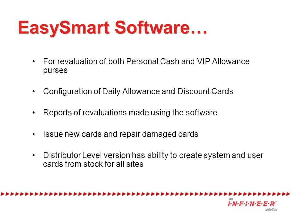 EasySmart Software… For revaluation of both Personal Cash and VIP Allowance purses Configuration of Daily Allowance and Discount Cards Reports of revaluations made using the software Issue new cards and repair damaged cards Distributor Level version has ability to create system and user cards from stock for all sites