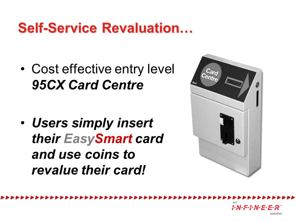 Self-Service Revaluation… Cost effective entry level 95CX Card Centre Users simply insert their EasySmart card and use coins to revalue their card!