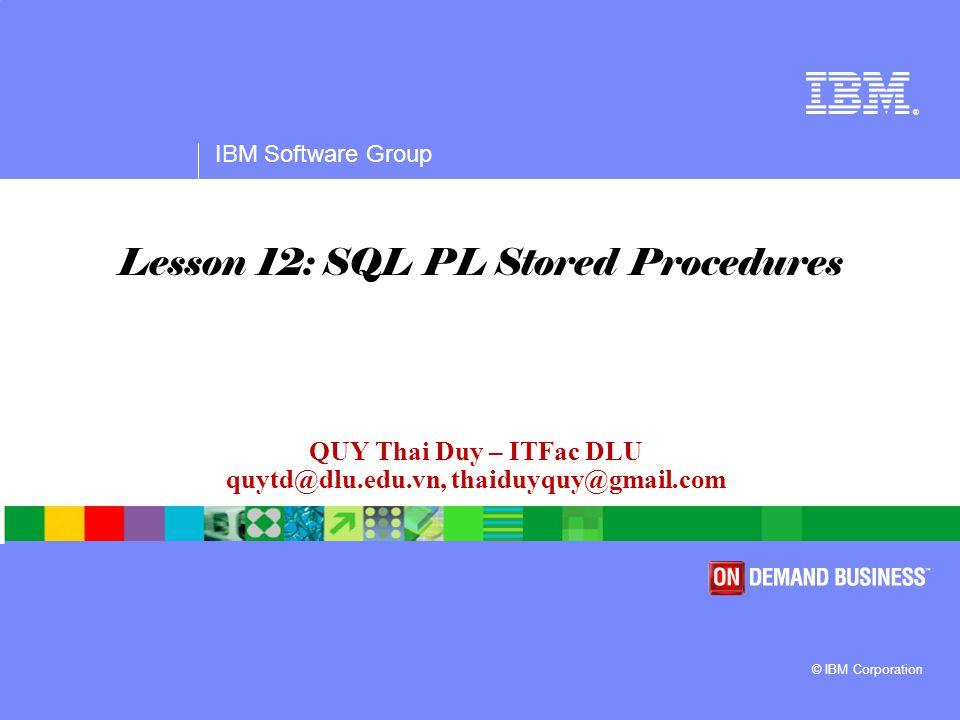 IBM Software Group Agenda  Stored procedures overview  IBM Data Studio  SQL PL Stored Procedures basics  Cursors  Errors & condition handlers  Flow control  Calling Stored Procedures  User Define Function.