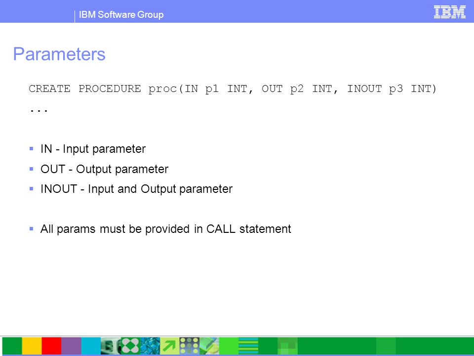 IBM Software Group Calling Stored Procedures from a Java Application Try { // Connect to sample database String url = jdbc:db2:sample ; con = DriverManager.getConnection(url); CallableStatement cs = con.prepareCall( CALL trunc_demo(?, ?) ); // register the output parameters callStmt.registerOutParameter(1, Types.VARCHAR); callStmt.registerOutParameter(2, Types.VARCHAR); cs.execute(); con.close(); } catch (Exception e) { /* exception handling logic goes here */ }