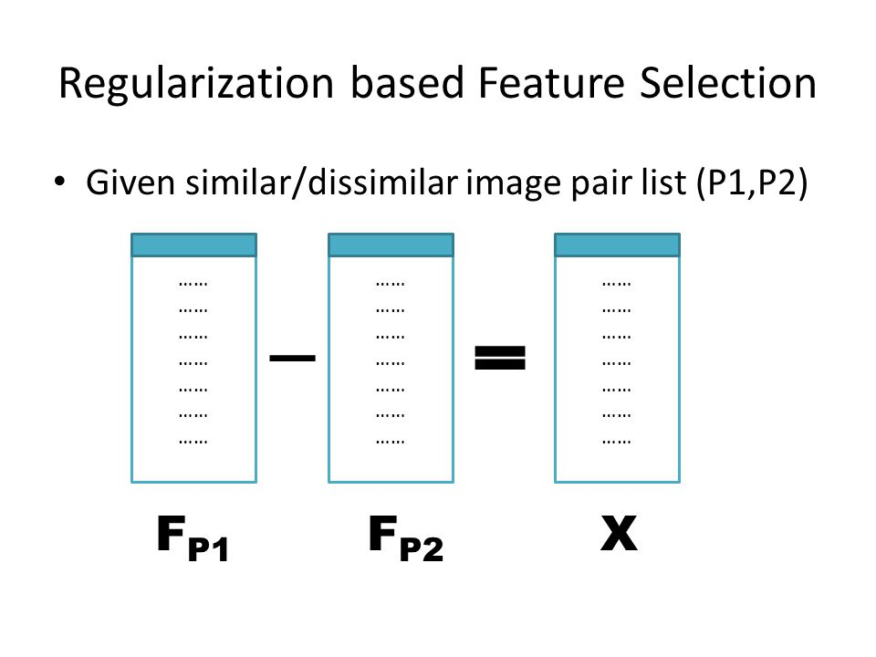 Regularization based Feature Selection X 1 1 … wY
