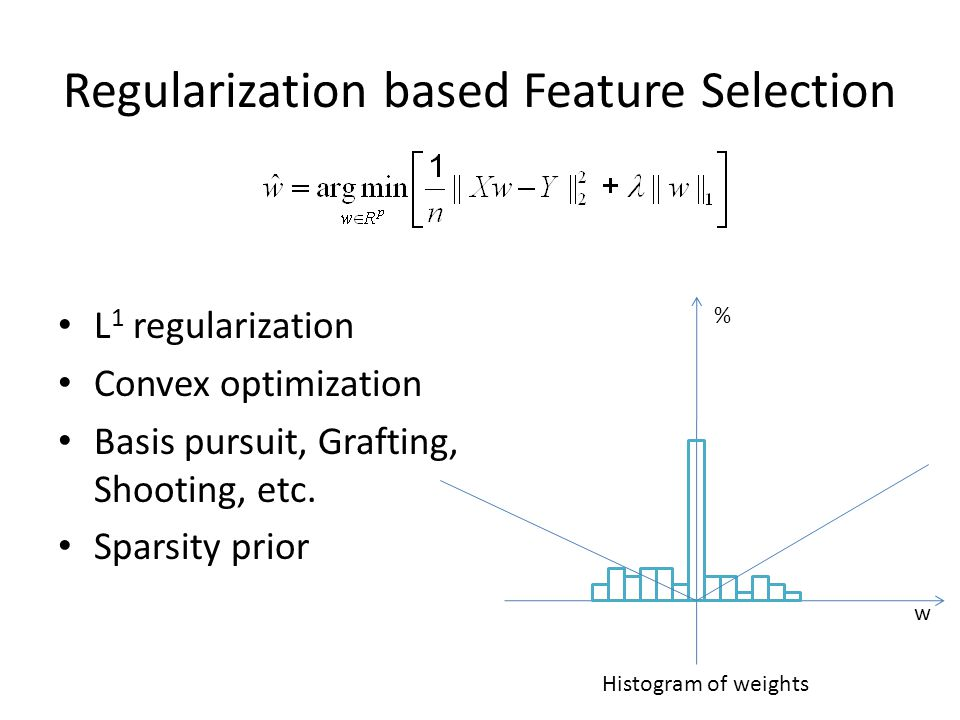 Regularization based Feature Selection Group sparsity [1] L 2 inside the same group, L 1 for different groups Benefits: removal of whole feature groups Projected-gradient [2] [1] M.