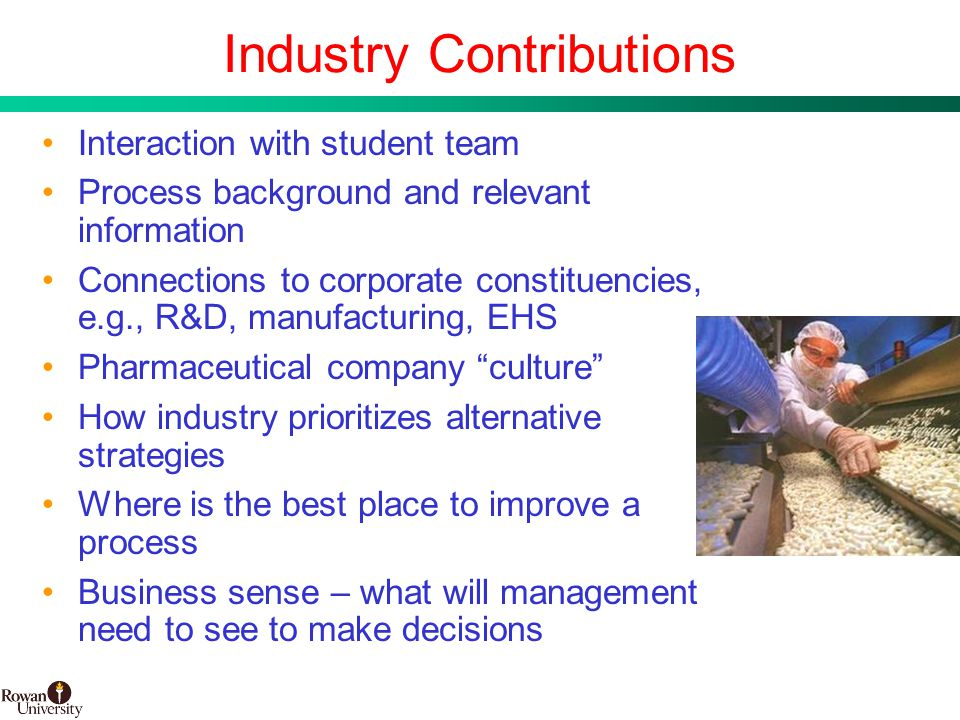 11 BMS Confidential PUBD 13745 Industry Contributions Interaction with student team Process background and relevant information Connections to corporate constituencies, e.g., R&D, manufacturing, EHS Pharmaceutical company culture How industry prioritizes alternative strategies Where is the best place to improve a process Business sense – what will management need to see to make decisions