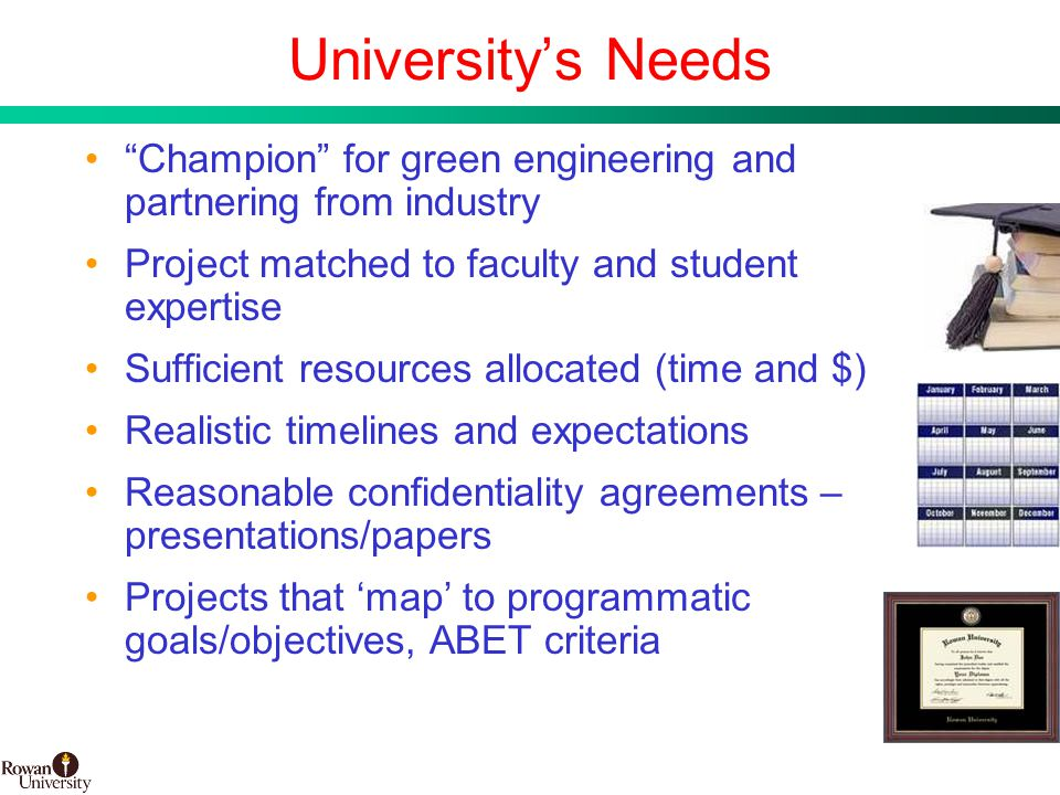 13 BMS Confidential PUBD 13745 University's Needs Champion for green engineering and partnering from industry Project matched to faculty and student expertise Sufficient resources allocated (time and $) Realistic timelines and expectations Reasonable confidentiality agreements – presentations/papers Projects that 'map' to programmatic goals/objectives, ABET criteria