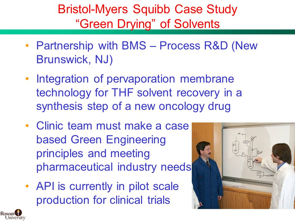 14 BMS Confidential PUBD 13745 Bristol-Myers Squibb Case Study Green Drying of Solvents Partnership with BMS – Process R&D (New Brunswick, NJ) Integration of pervaporation membrane technology for THF solvent recovery in a synthesis step of a new oncology drug Clinic team must make a case based Green Engineering principles and meeting pharmaceutical industry needs API is currently in pilot scale production for clinical trials