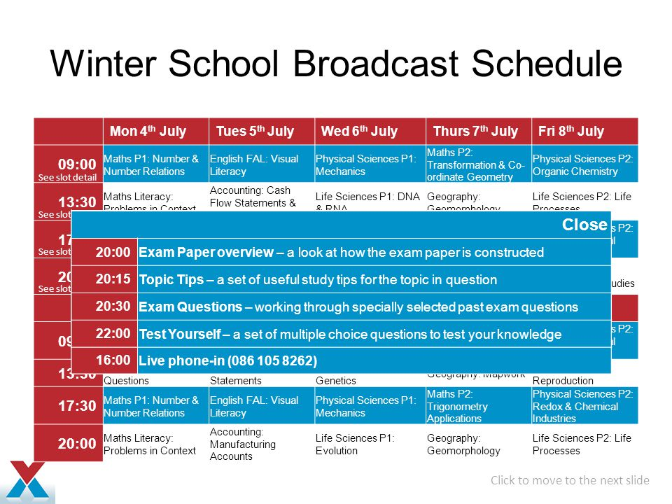 Winter School Broadcast Schedule Mon 4 th JulyTues 5 th JulyWed 6 th JulyThurs 7 th JulyFri 8 th July 09:00 Maths P1: Number & Number Relations English FAL: Visual Literacy Physical Sciences P1: Mechanics Maths P2: Transformation & Co- ordinate Geometry Physical Sciences P2: Organic Chemistry 13:30 Maths Literacy: Problems in Context Accounting: Cash Flow Statements & Interpretation of Ratios Life Sciences P1: DNA & RNA Geography: Geomorphology Life Sciences P2: Life Processes 17:30 Maths P1: Calculus English FAL: Comprehension and Summarising Physical Sciences P1: Waves, Sound & Light Maths P2: Trigonometry Physical Sciences P2: Rates & Chemical Equilibrium 20:00 Maths Literacy: Space & Shape Accounting: Financial Statements Life Sciences P1: Evolution Geography: Climatology Life Sciences P2: Environmental Studies Mon 11 th JulyTues 12 th JulyWed 13 th JulyThurs 14 th JulyFri 15 th July 09:00 Maths P1: Functions & Graphs English FAL: Language and Editing Physical Sciences P1: Electricity & Magnetism Maths P2: Trigonometry Physical Sciences P2: Rates & Chemical Equilibrium 13:30 Maths Literacy: Mixed Questions Accounting: Financial Statements Life Sciences P1: Genetics Geography: Mapwork Life Sciences P2: Reproduction 17:30 Maths P1: Number & Number Relations English FAL: Visual Literacy Physical Sciences P1: Mechanics Maths P2: Trigonometry Applications Physical Sciences P2: Redox & Chemical Industries 20:00 Maths Literacy: Problems in Context Accounting: Manufacturing Accounts Life Sciences P1: Evolution Geography: Geomorphology Life Sciences P2: Life Processes Click to move to the next slide See slot detail 09:00 Exam Paper overview – a look at how the exam paper is constructed 09:15 Topic Tips – a set of useful study tips for the topic in question 09:30 Exam Questions – working through specially selected past exam questions 11:00 Test Yourself – a set of multiple choice questions to test your knowledge 11:30 Live phone-in (086 105 8262) Close 13:30 Exam Paper ov