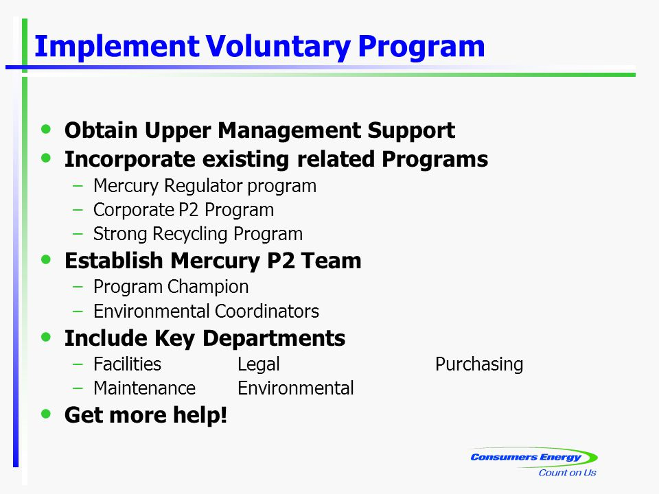 Implement Voluntary Program Obtain Upper Management Support Incorporate existing related Programs –Mercury Regulator program –Corporate P2 Program –Strong Recycling Program Establish Mercury P2 Team –Program Champion –Environmental Coordinators Include Key Departments –FacilitiesLegalPurchasing –MaintenanceEnvironmental Get more help!