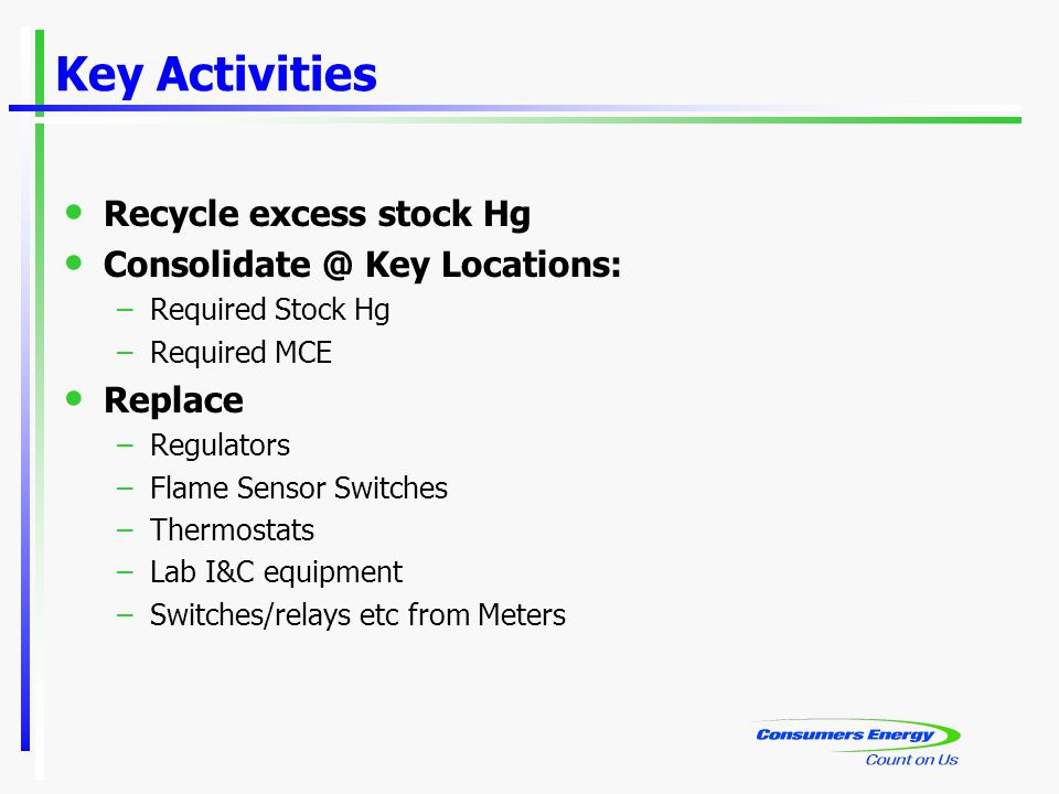 Key Activities Recycle excess stock Hg Consolidate @ Key Locations: –Required Stock Hg –Required MCE Replace –Regulators –Flame Sensor Switches –Thermostats –Lab I&C equipment –Switches/relays etc from Meters