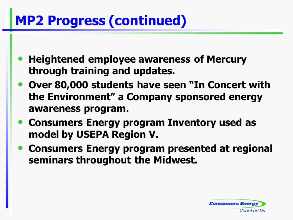 "MP2 Progress (continued) Heightened employee awareness of Mercury through training and updates. Over 80,000 students have seen ""In Concert with the En"