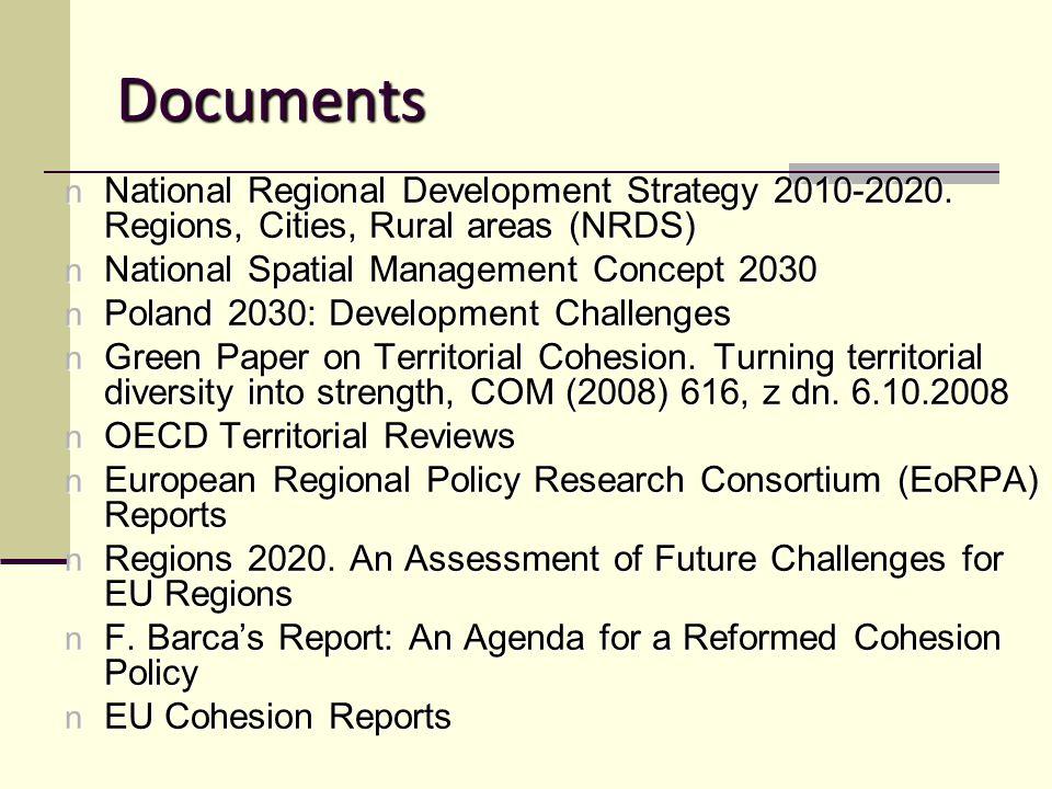 Documents n National Regional Development Strategy 2010-2020.