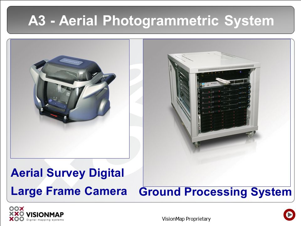 VisionMap Proprietary Visionmap A3 Differentiators  Very High productivity of the Aerial Survey and Processing  Vertical and Oblique images in one flight by one camera  Fully automatic Orthophoto production