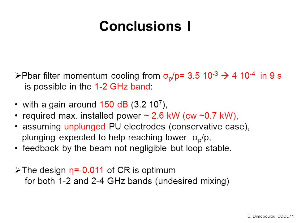 Conclusions I  Pbar filter momentum cooling from σ p /p= 3.5 10 -3  4 10 -4 in 9 s is possible in the 1-2 GHz band: with a gain around 150 dB (3.2 1