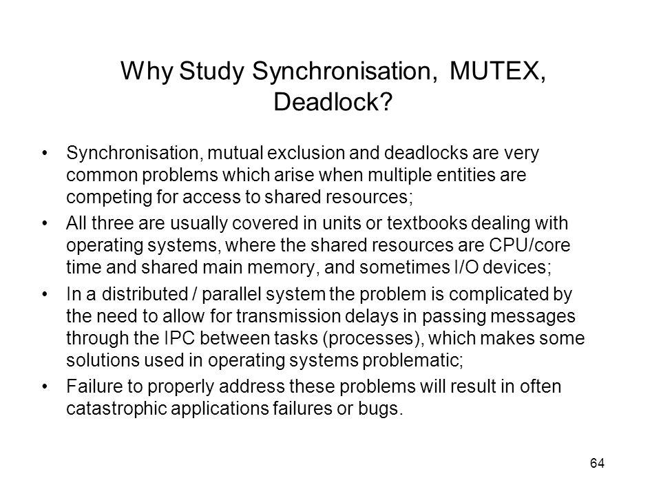 64 Why Study Synchronisation, MUTEX, Deadlock.