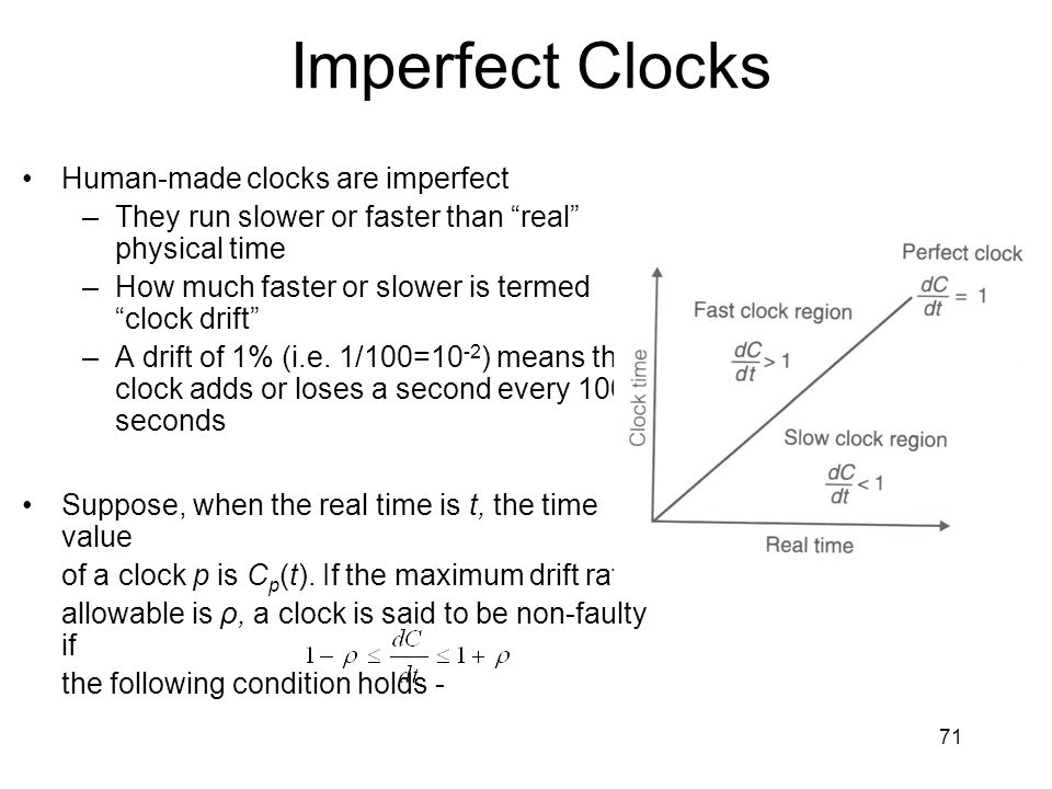 71 Imperfect Clocks Human-made clocks are imperfect –They run slower or faster than real physical time –How much faster or slower is termed clock drift –A drift of 1% (i.e.