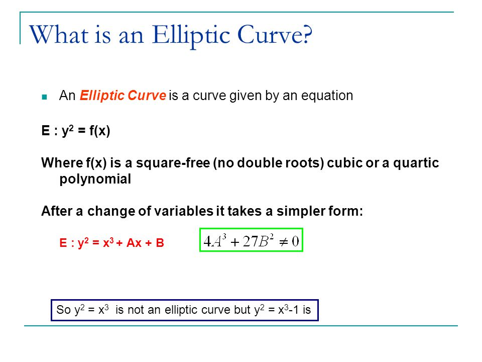 What is an Elliptic Curve.