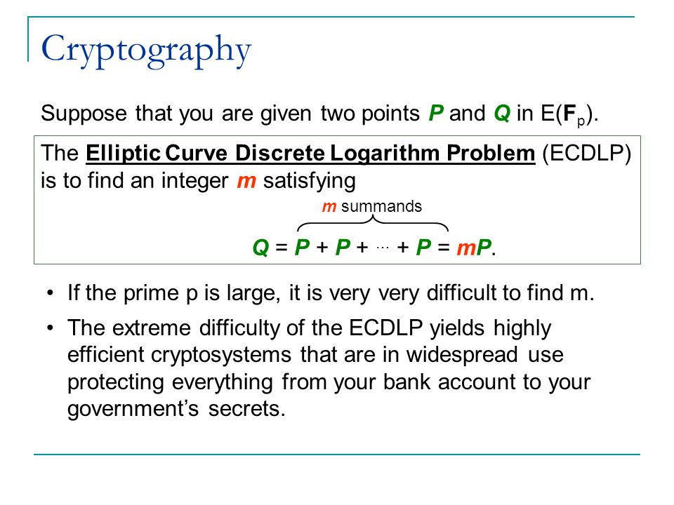 Cryptography Suppose that you are given two points P and Q in E(F p ).