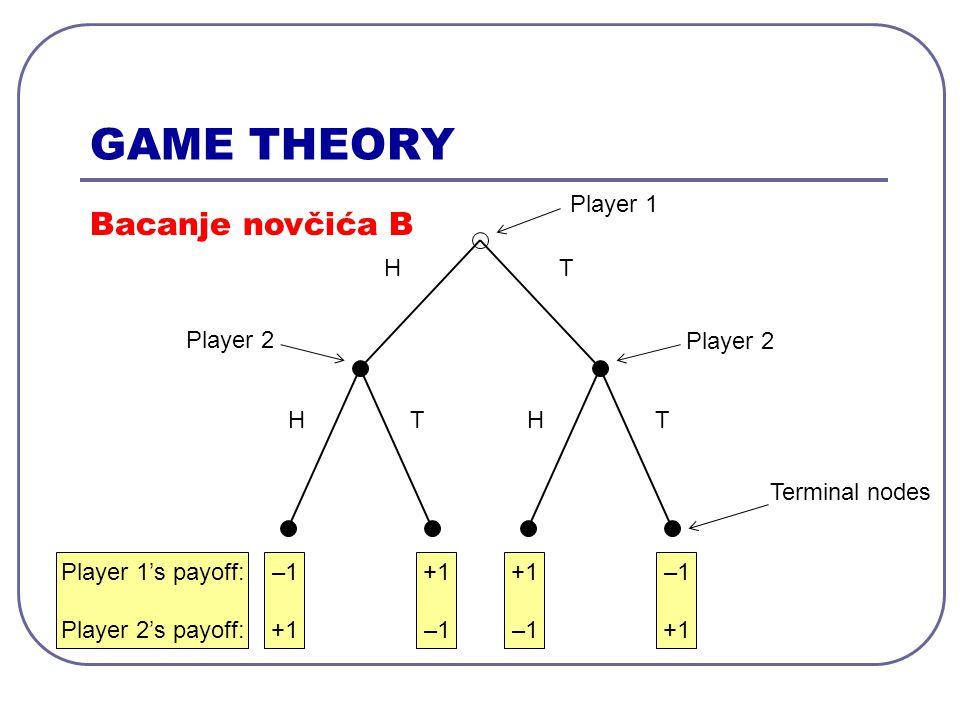 GAME THEORY Moguće strategije: Bacanje novčića A Player 1: Play H Play T Player 2: Play H Play T