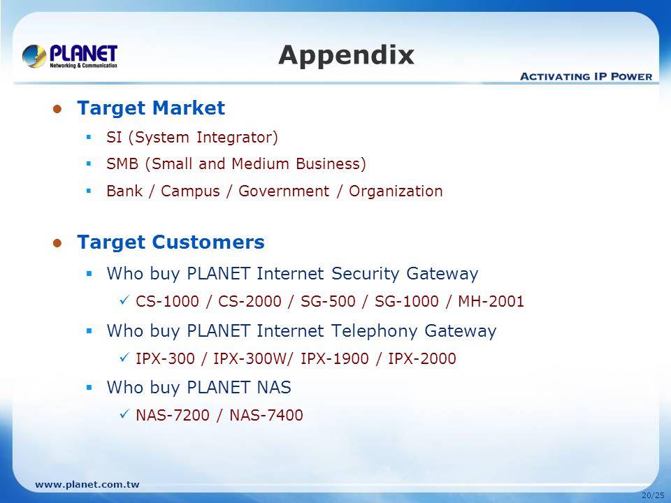 www.planet.com.tw 19/25 Comparison Model Features PLANET UMG-2000Cisco UC 520-24U-8FXO Software EMAIL SERVICE ProtocolPOP3, SMTP, IMAPN/A Email Accoun