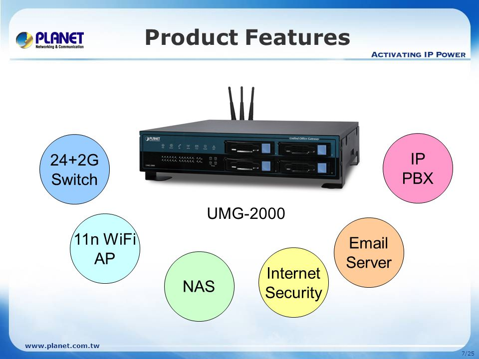www.planet.com.tw 17/25 Comparison Model Features PLANET UMG-2000Cisco UC 520-24U-8FXO Hardware Chipset IBM 440GX + Broadcom BCM5324M + Marvell 88SX5040 + Yeastar TDM800 WCTDM+ Ralink RT2860 N/A RAM1GB768MB Flash128MB1152MB Hard DiskUp to 4TB Hot-Swappable SATA HDDN/A WAN Port1 x 10/100Mbps LAN Port24 x 10/100Mbps + 2 x 10/100/1000Mbps8 x 10/100Mbps PoE Phone Port4 x FXO4 x FXS + 8 x FXO WiFi802.11b/g/n802.11b/g USB2 x USB 2.0N/A Remark: POE can co-work with POE-400 for 4 PD (powered device) or POE-1200/POE-2400 for 12/24 PD devices for more flexibility.