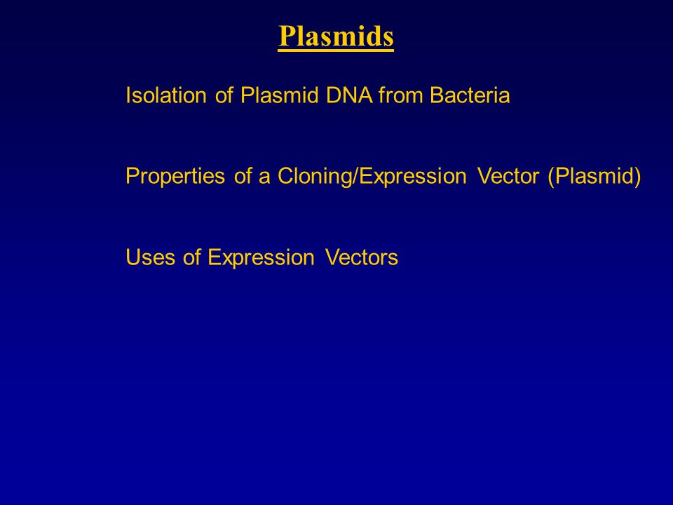 Plasmids Isolation of Plasmid DNA from Bacteria Properties of a Cloning/Expression Vector (Plasmid) Uses of Expression Vectors