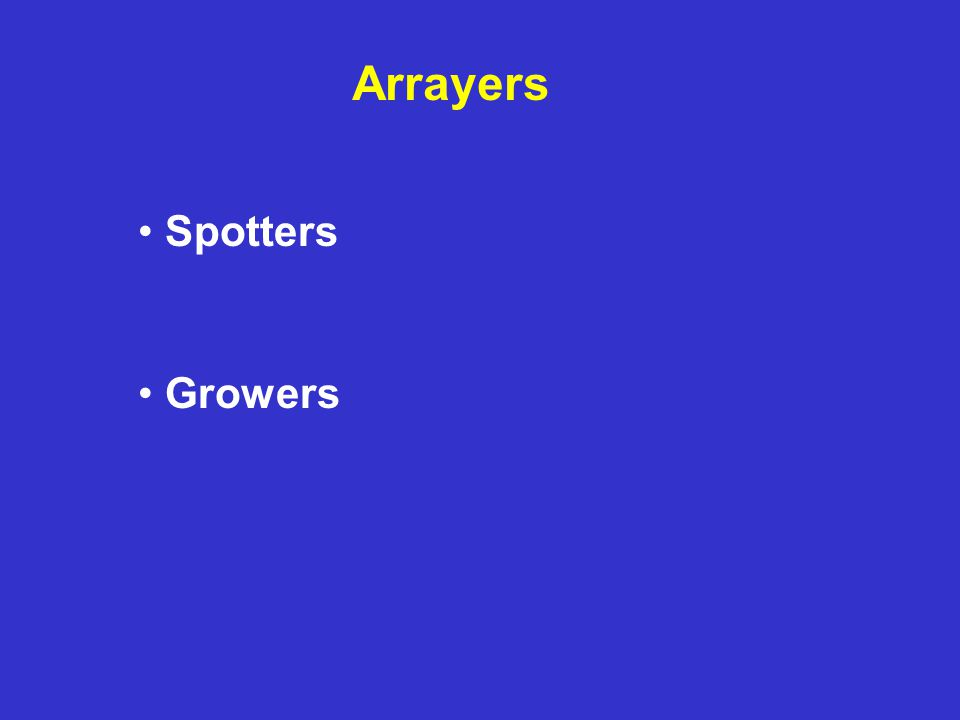 Arrayers Spotters Growers