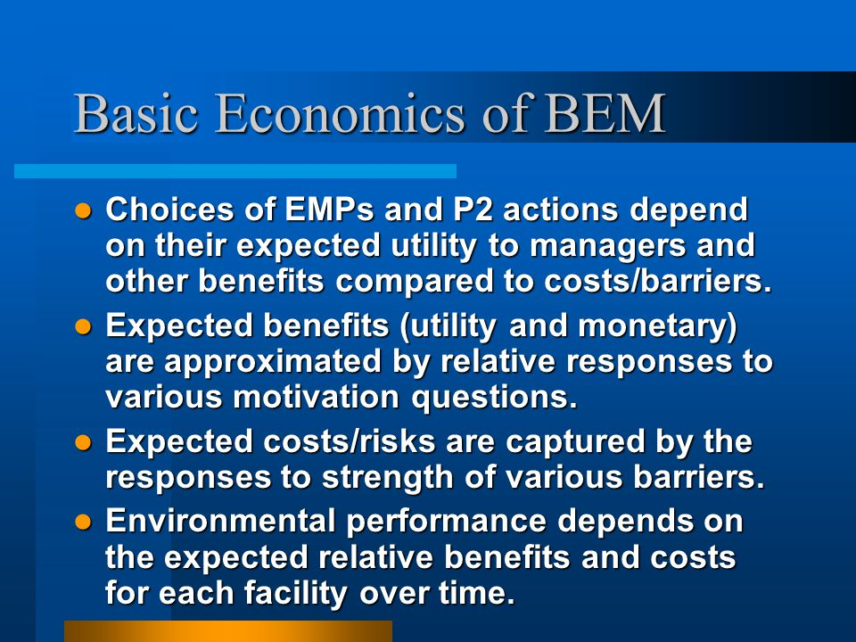 Basic Economics of BEM Choices of EMPs and P2 actions depend on their expected utility to managers and other benefits compared to costs/barriers. Choi
