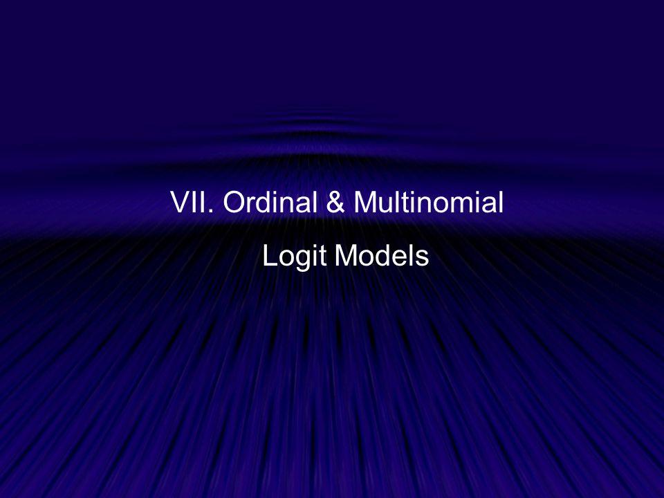 VII. Ordinal & Multinomial Logit Models