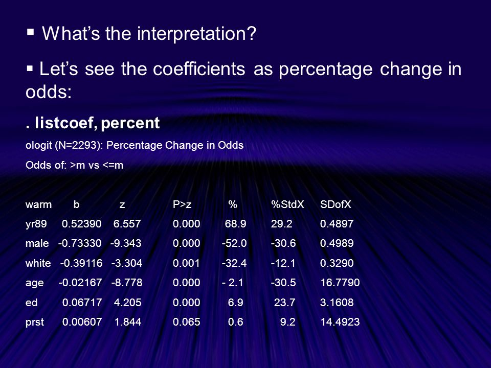  What's the interpretation. Let's see the coefficients as percentage change in odds:.
