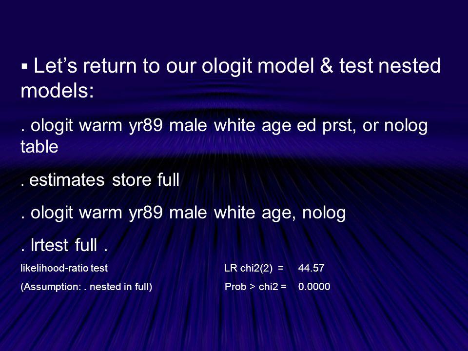  Let's return to our ologit model & test nested models:.