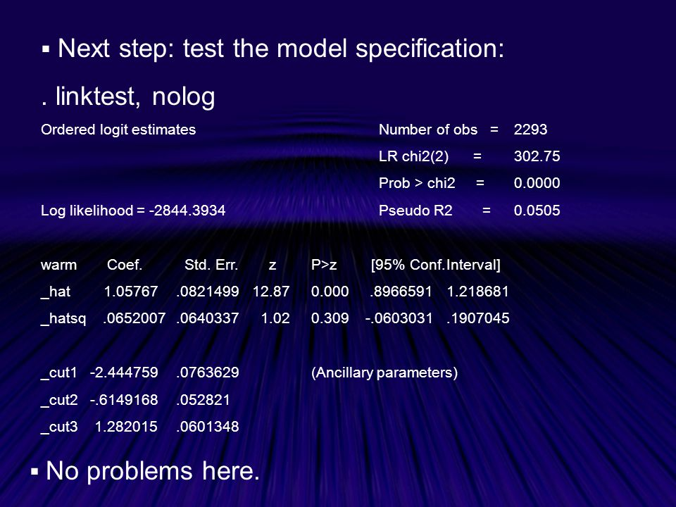  Next step: test the model specification:.