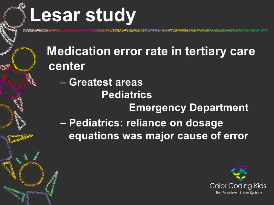 Lesar study Medication error rate in tertiary care center –Greatest areas Pediatrics Emergency Department –Pediatrics: reliance on dosage equations wa