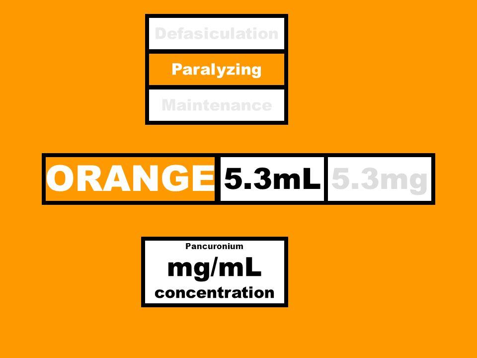 ORANGE 5.3mL5.3mg Paralyzing Defasiculation Maintenance Pancuronium mg/mL concentration