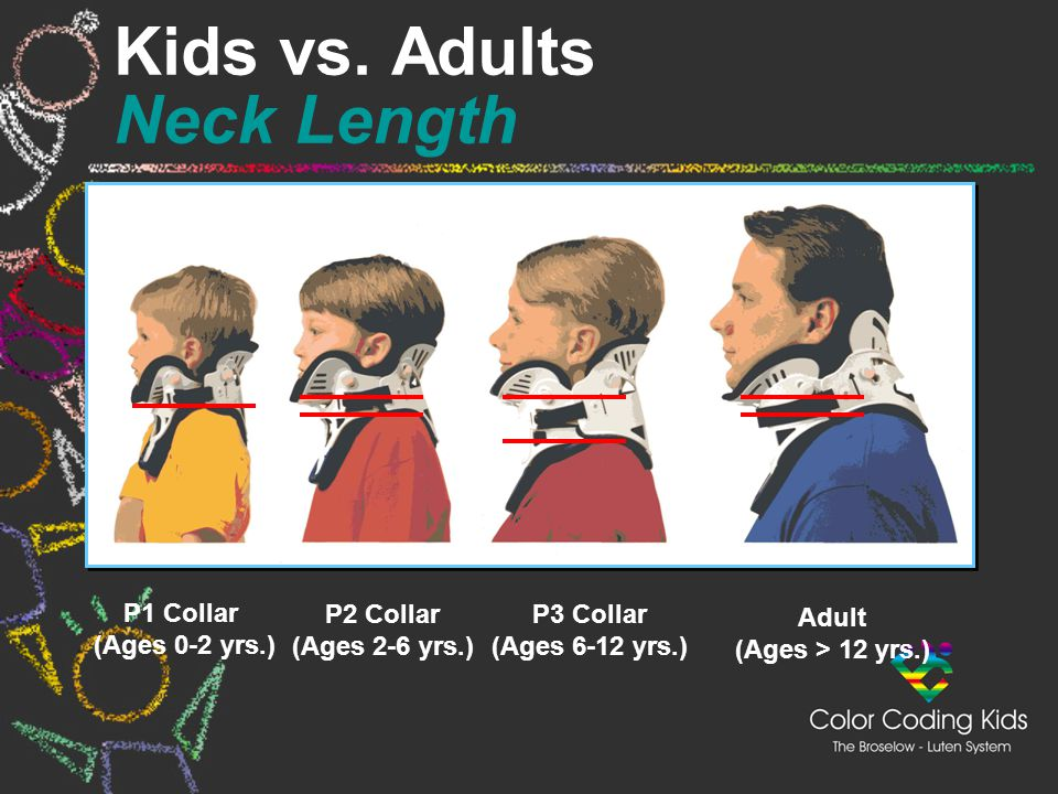 P1 Collar (Ages 0-2 yrs.) P2 Collar (Ages 2-6 yrs.) P3 Collar (Ages 6-12 yrs.) Adult (Ages > 12 yrs.) Kids vs. Adults Neck Length