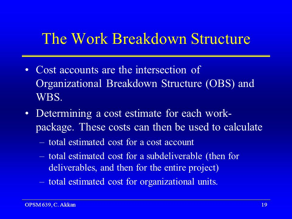 OPSM 639, C. Akkan19 The Work Breakdown Structure Cost accounts are the intersection of Organizational Breakdown Structure (OBS) and WBS. Determining