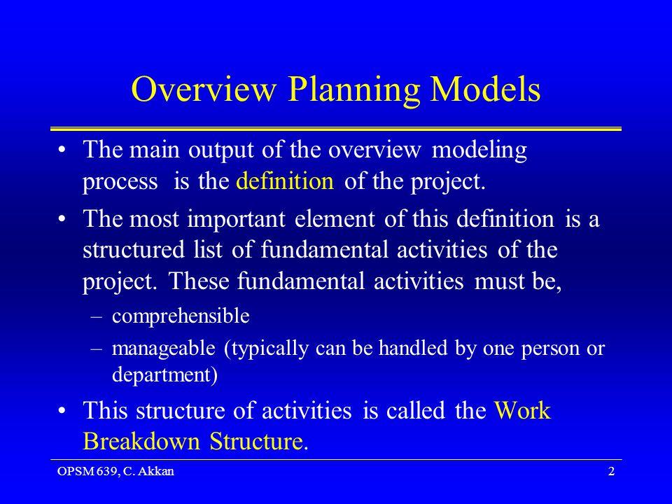 OPSM 639, C. Akkan13 The Work Breakdown Structure Hierarchical breakdown of WBS