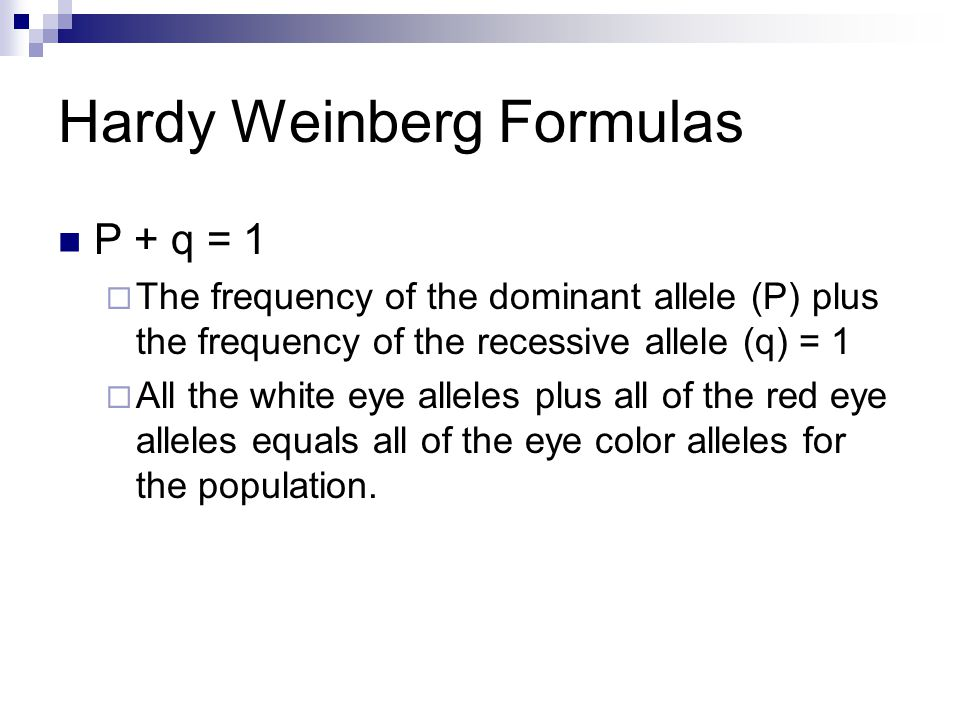 Hardy Weinberg Formulas P + q = 1  The frequency of the dominant allele (P) plus the frequency of the recessive allele (q) = 1  All the white eye alleles plus all of the red eye alleles equals all of the eye color alleles for the population.