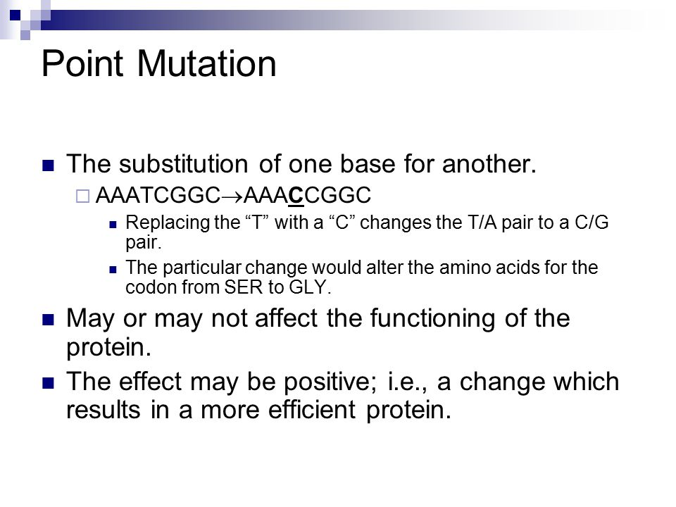 Point Mutation The substitution of one base for another.