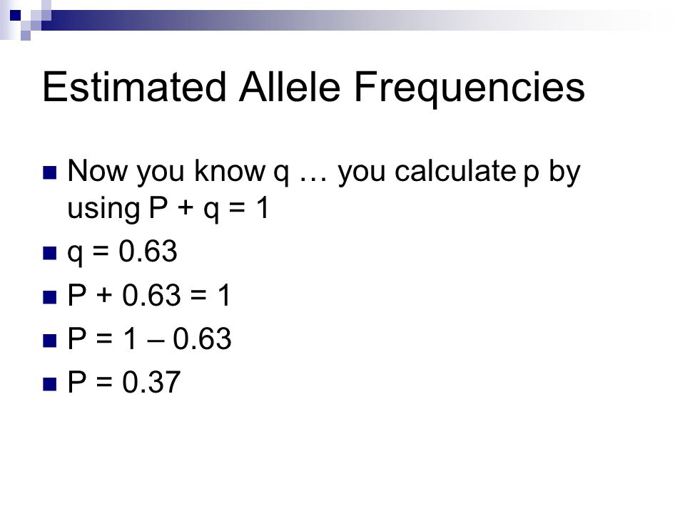 Estimated Allele Frequencies Now you know q … you calculate p by using P + q = 1 q = 0.63 P + 0.63 = 1 P = 1 – 0.63 P = 0.37