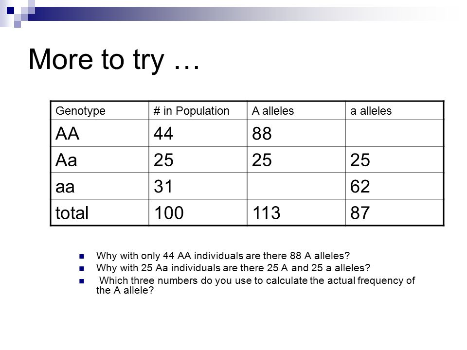 More to try … Why with only 44 AA individuals are there 88 A alleles.